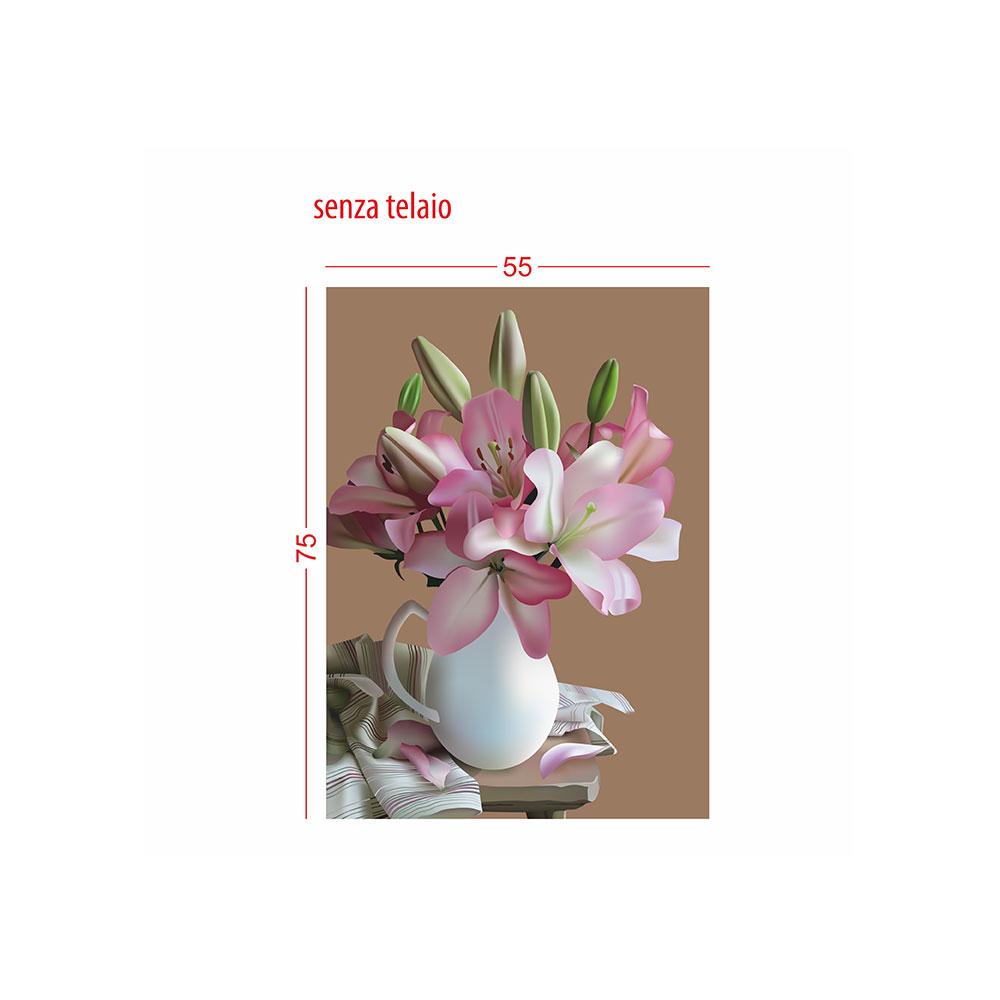 TELA CANVAS - vaso di fiori rosa
