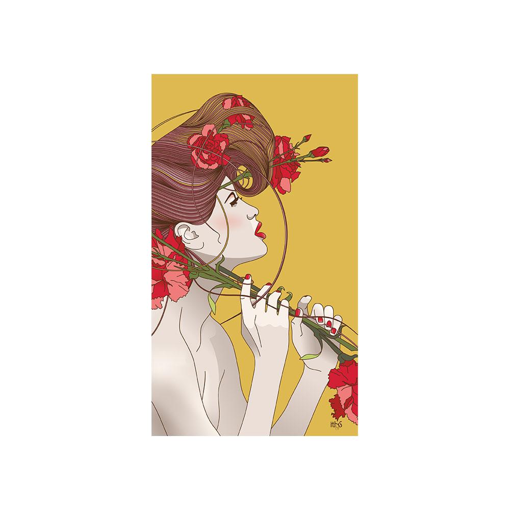 TELA CANVAS - Donna con garofani