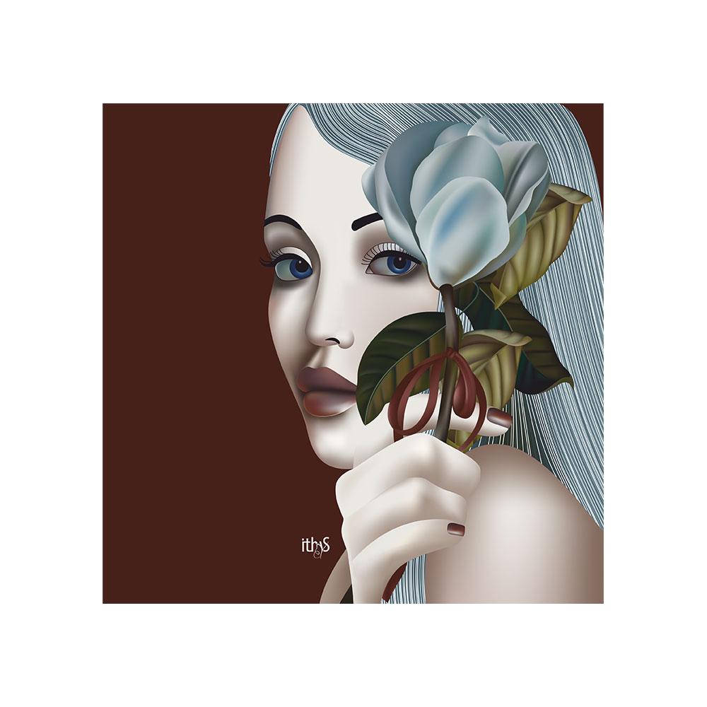 TELA CANVAS - Donna con magnolia