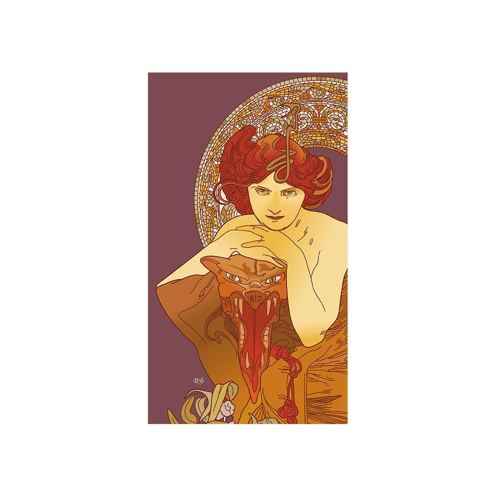TELA CANVAS - Rivisitazione - Alphonse Mucha 'smeraldo'