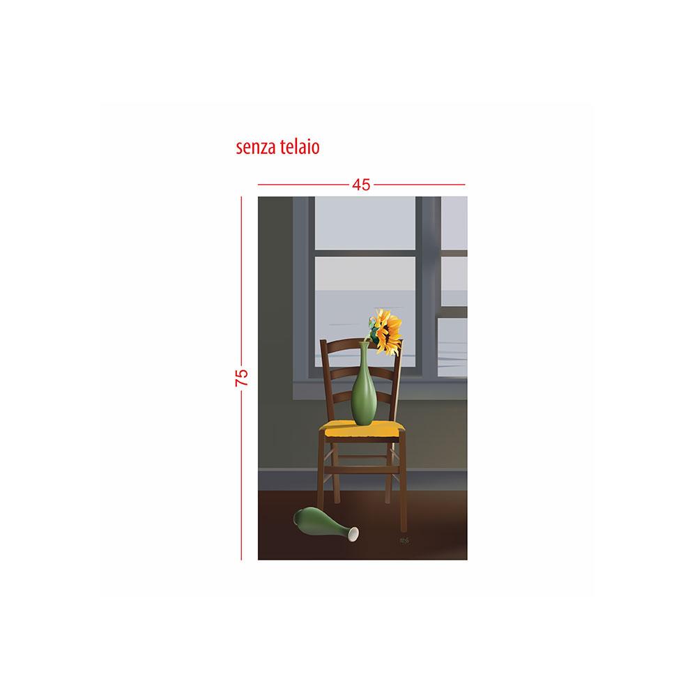 TELA CANVAS - sedia con girasoli